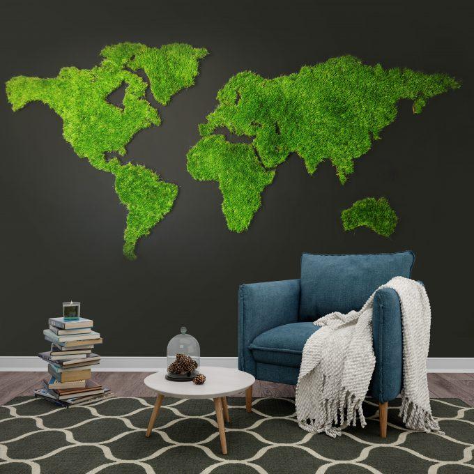 Mapa świata green grass zielona mapa (1)